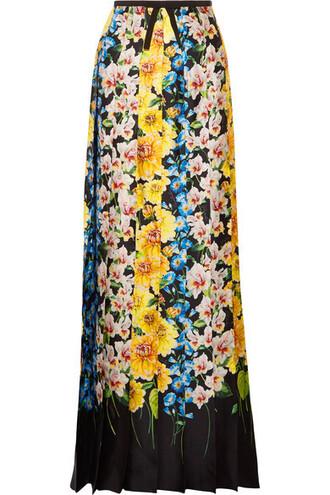 skirt maxi skirt maxi floral print silk yellow satin