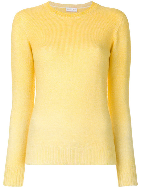 Agnona top long women knit yellow orange