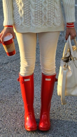 shoes boots red hunter boots hispter autumn boots