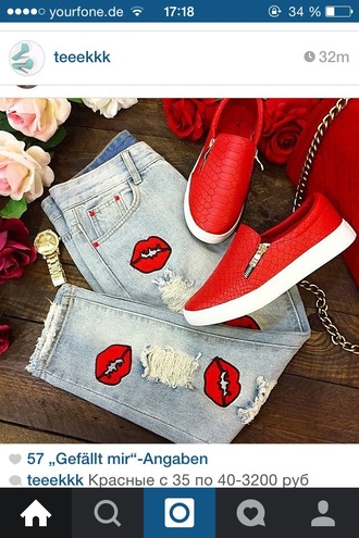 jeans style ripped jeans slip on shoes red shoes embellished denim