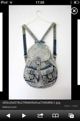 bag backpack acid wash denim