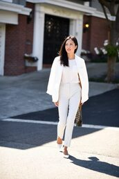 jacket,blazer,white blazer,top,pants,white pants,white,shoes,bag