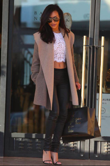 naya rivera glee pants shoes coat white floral shirt