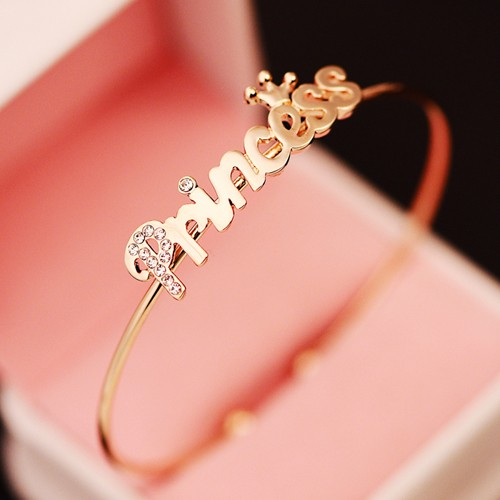 "Noble and distinguished korean style ""princess"" woman's rose gold planted monogram woman's bracelet/bangle"