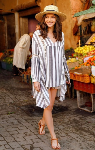 top asymmetrical tunic striped top shorts sandals flat sandals hat straw hat stripes