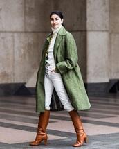 coat,green,green coat,oversized,white sweater,brown boots,khaki,oversized coat,sweater,jeans,denim,white jeans,boots