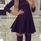 Peaked collar long sleeves skater dress disheefashion