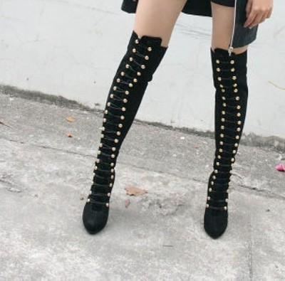 Sexy burlesque fetisch domina thigh high heels overknee stiefel boots 36