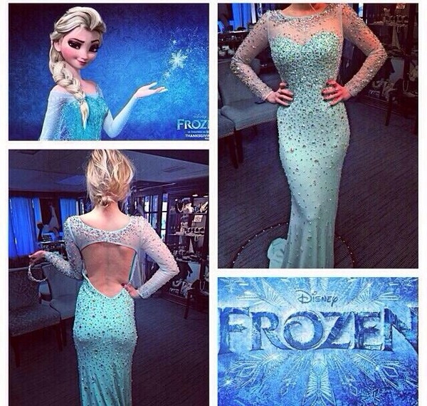 dress frozen blue dress evening dress prom dress long prom dress sparkle girly elegant elsa gown long sleeveless