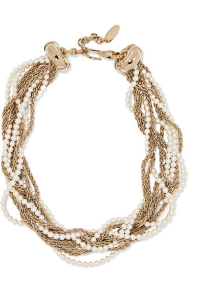 lanvin pearl necklace gold jewels
