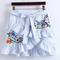 Pinstripe ruffle trim overlap front skirt -shein(sheinside)