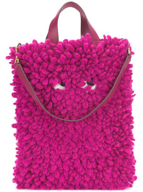 Anya Hindmarch women leather wool purple pink bag