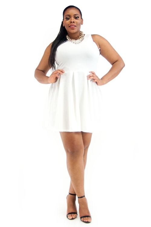 d16e8413ee Plus Size Textured White Sleeveless Skater Dress