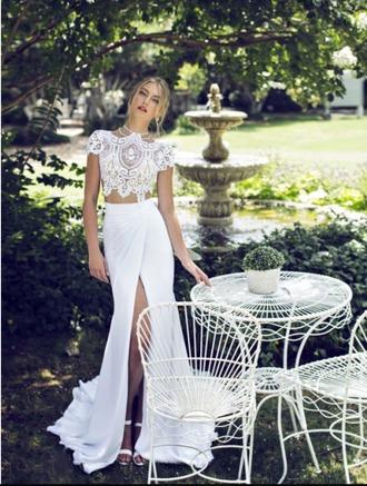 dress prom dress prom wish promwish two-piece lace chiffon cap sleeve capped sleeve