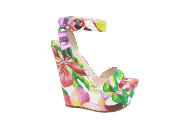 Boutique fashion white flower design wedges mightylinksfo