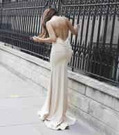 dress,nude,nude dress,maxi dress,maxi,prom dress,prom,prom gown,evening dress,event,backless,backless dress,backless prom dress,fishtail dress,fishtail hem,sexy,sexy dress,sexy party dresses,pretty,long dress,long prom dress,beige,beige dress,cream dress,stylish,swag,wow,slinky gow,long evening dress