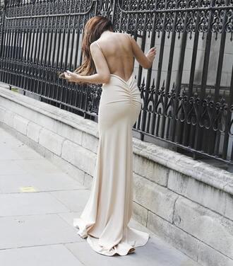 dress nude nude dress maxi dress maxi prom dress prom prom gown evening dress event backless backless dress backless prom dress fishtail dress fishtail hem sexy sexy dress sexy party dresses pretty long dress long prom dress beige beige dress cream dress stylish swag wow slinky gow long evening dress