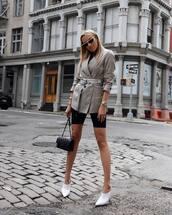 shoes,mules,white shoes,shorts,blazer,check blazer,belt,handbag,sunglasses