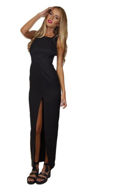 Fitted maxi dress black