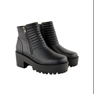shoes faux leather leather quilted black chunky boots ankle boots black boots black zip boots zip