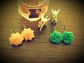 jewels,earrings,vintage,flowers,unicorn,pink,cute,spring
