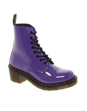 Dr martens clemency bright purple patent lamper boots at asos