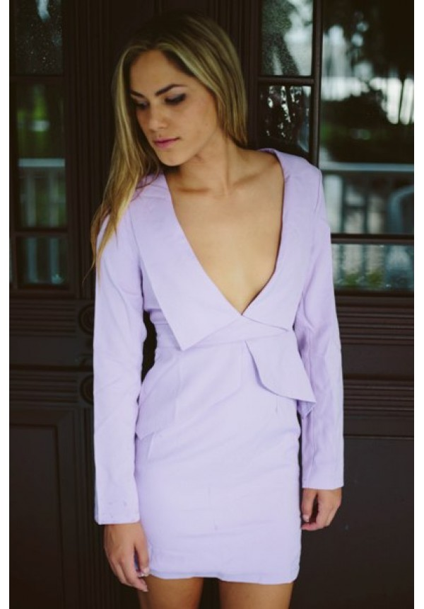 Emma- Long sleeve lavender dress with plunging collared neckline a