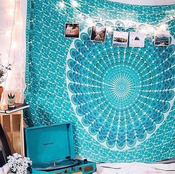 Home Accessory Record Player Tapestry Boho Indie Tumblr Blue Aqua Home Decor