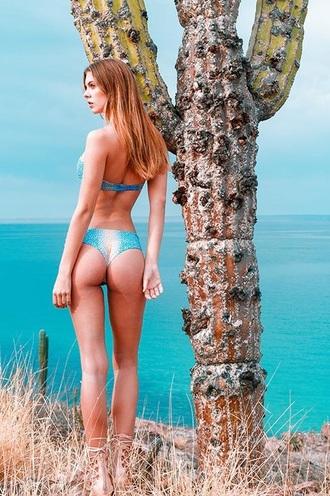 swimwear revel rey print leopard print blue orange white cheeky skimpy bottom bikini bottoms