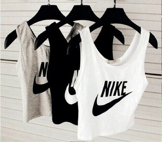 top nike black white gray