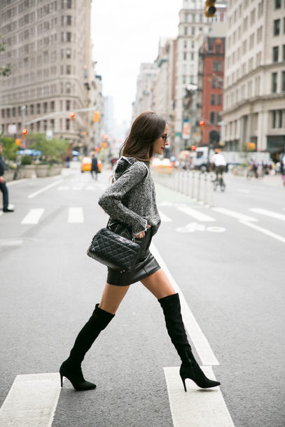 sweater tumblr grey sweater ruffle ruffle sweater boots black boots over the knee boots over the knee skirt mini skirt black skirt black leather skirt leather skirt bag black bag