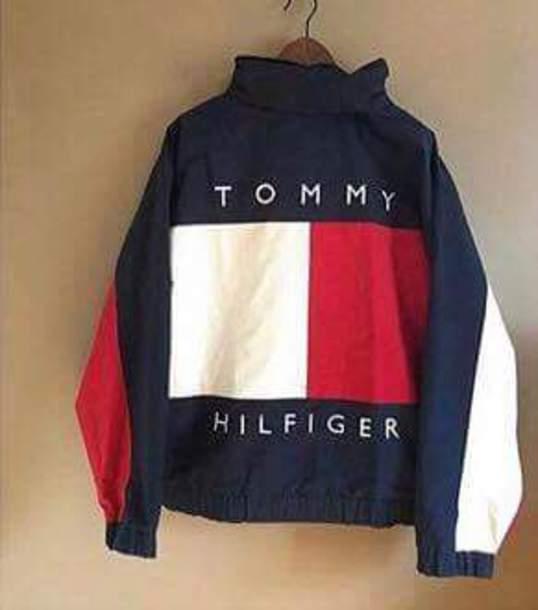 jacket tommy hilfiger vintage vintage blue white red. Black Bedroom Furniture Sets. Home Design Ideas