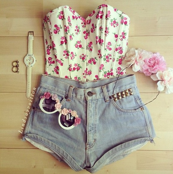 summer romantic flowers shirt floral sunglasses cute happy grunge pastel sunny outfit pretty girly short shorts studs high waisted short shorts pink roses vintage corset bustier bralet bralette sweet shoes blouse