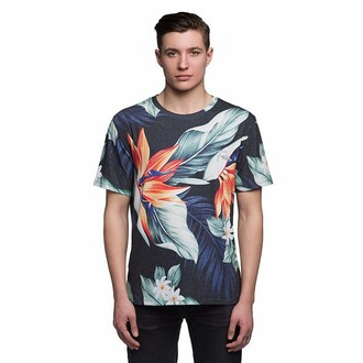 t-shirt top flowers floral guys print blue orange fusion printed t-shirt dark blue menswear mens t-shirt hipster menswear