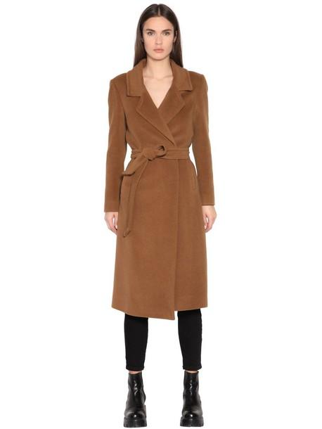 coat long wool camel