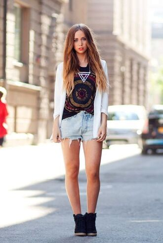 shirt clothes indie jewels shorts jacket wedge sneakers t-shirt