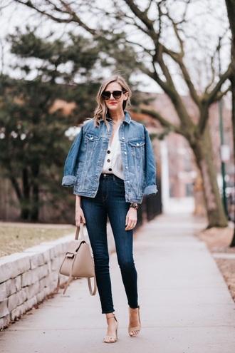 jacket denim blue jeans nude sandals bag shirt denim jacket skinny jeans jeans sandals sandal heels