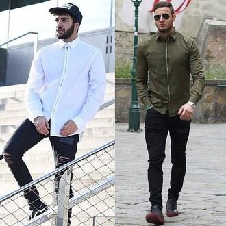 shirt white khaki zip detail top smart casual formal zipped 28719