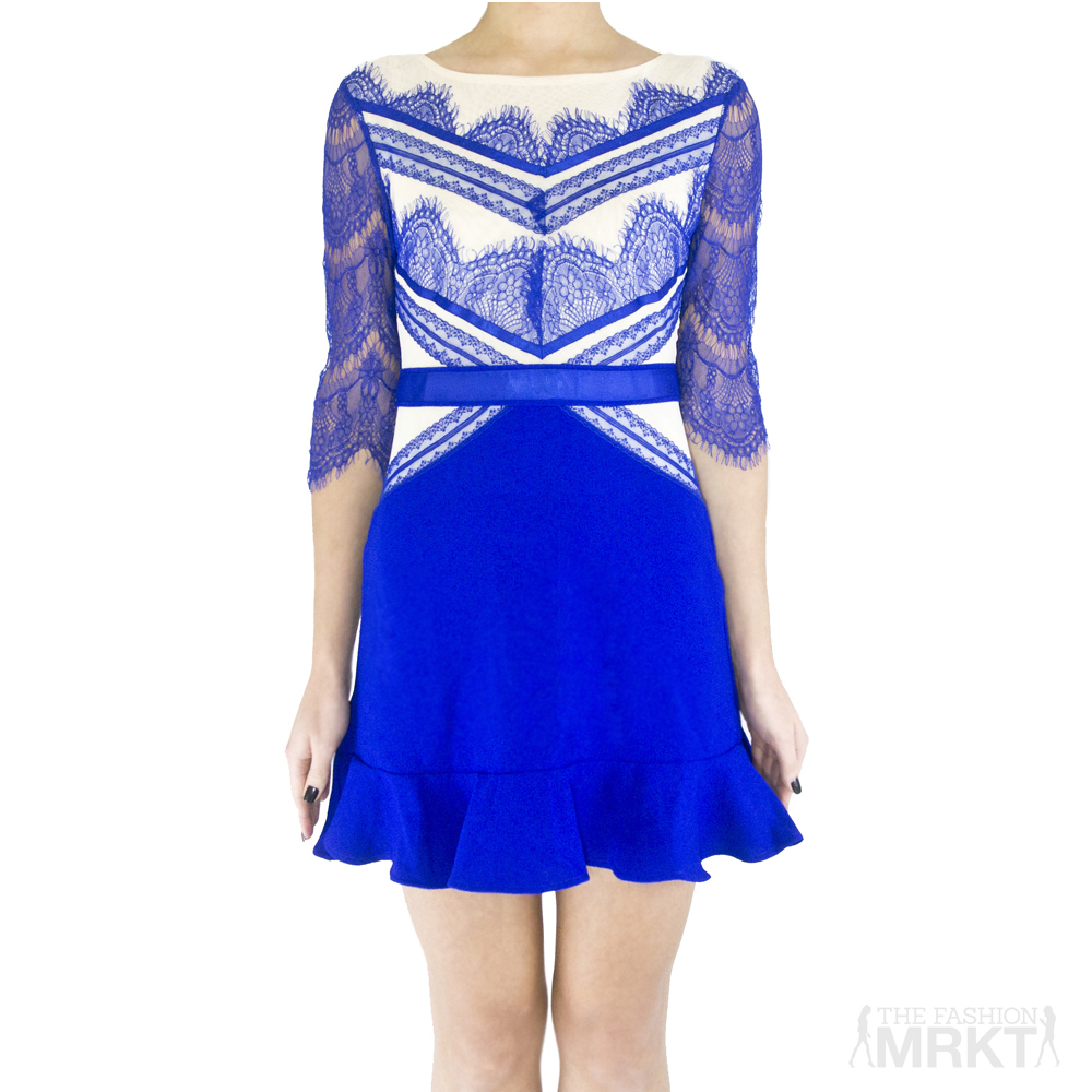 Three Floor Shades Of Blue Flared Tulip Lace Dress / TheFashionMRKT
