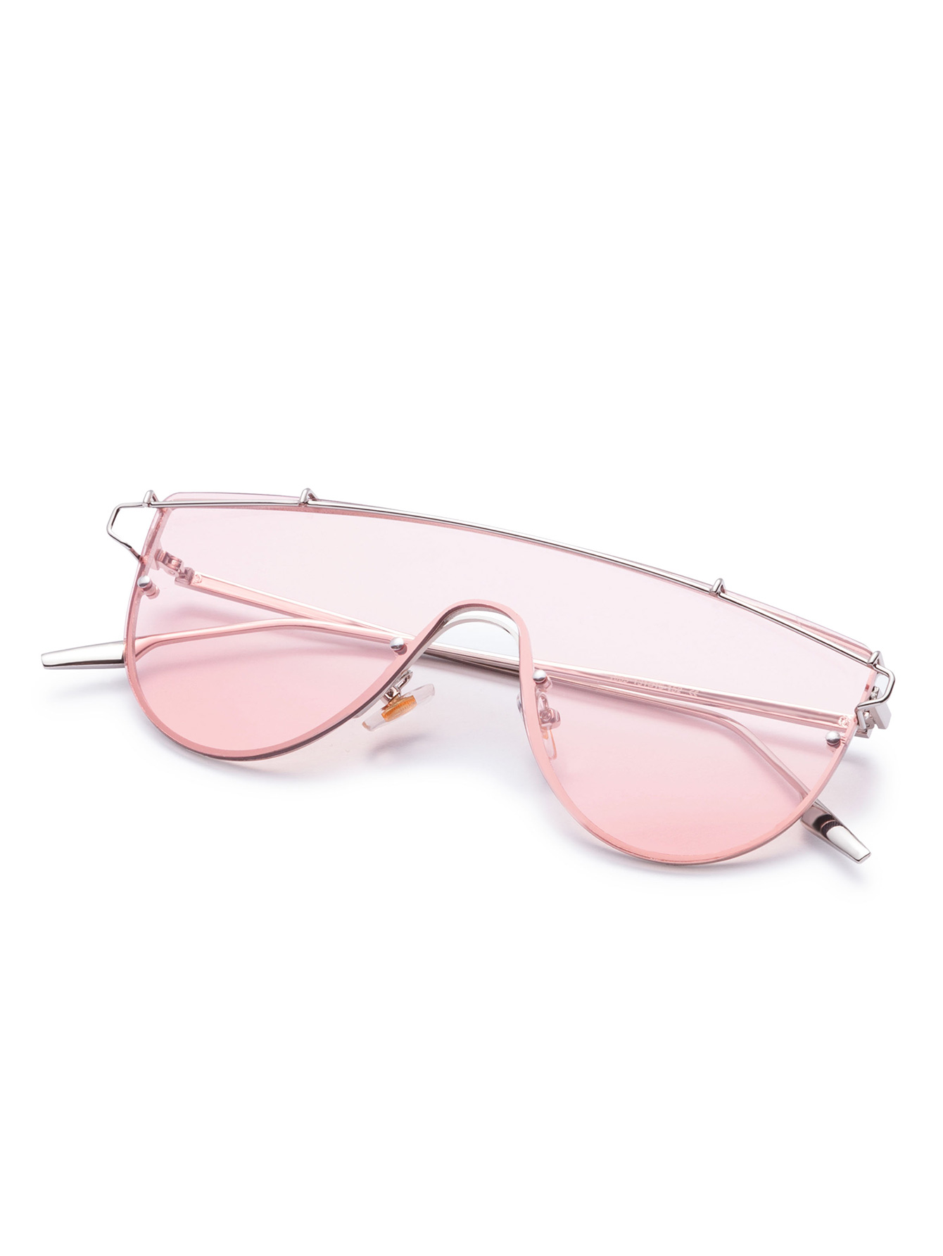 f035897d6d Pink Clear Lens Metal Frame Curved Sunglasses -SheIn(Sheinside)