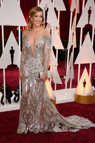 dress gown silver red carpet dress katie cassidy oscars 2015