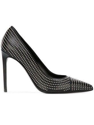 studded pumps black shoes