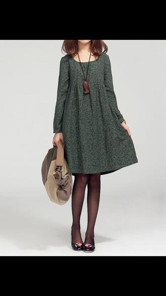dress flowered green dress
