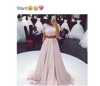 dress 2 piece prom dress lace top pink silky