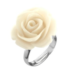 Amazon.com: 14mm Simulated White Coral Carved Rose Flower Ring Adjustable Finger Ring: Jewelry