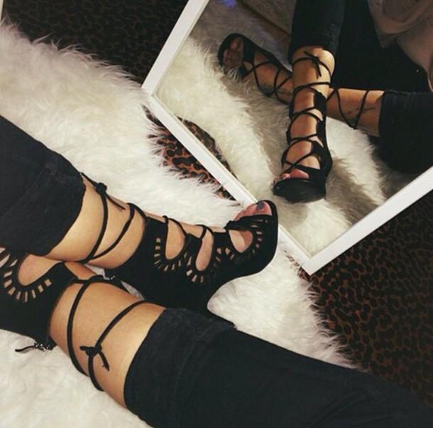 76759c108c5 Buy KRULL Stiletto Heel Lace Up Sandal Shoes Black Leather Style Online