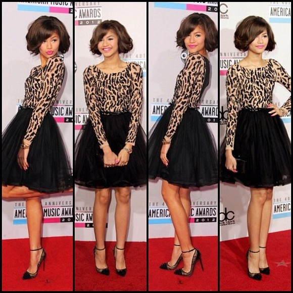 black and brown dress dress leaopard zendaya shoes