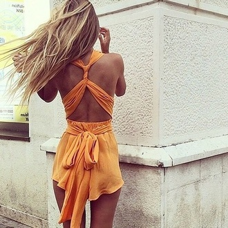 jumpsuit orange romper dungaree indie beachy bohemian overalls the carrie diaries carrie season 2 thecarriediaries rust yellow girly sexy cool girl style bows silk top girl model moda street haute couture heels style trendy woman orange is the new black backless dress