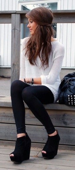 sweater oversized sweater black leggings leggings tights shoes cute white sweater girly brunette