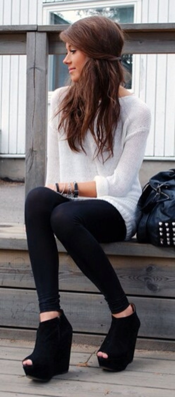 sweater leggings black leggings tights white sweater oversized sweater cute girly brunette shoes white lovely pajamas shorts shoes black wedges